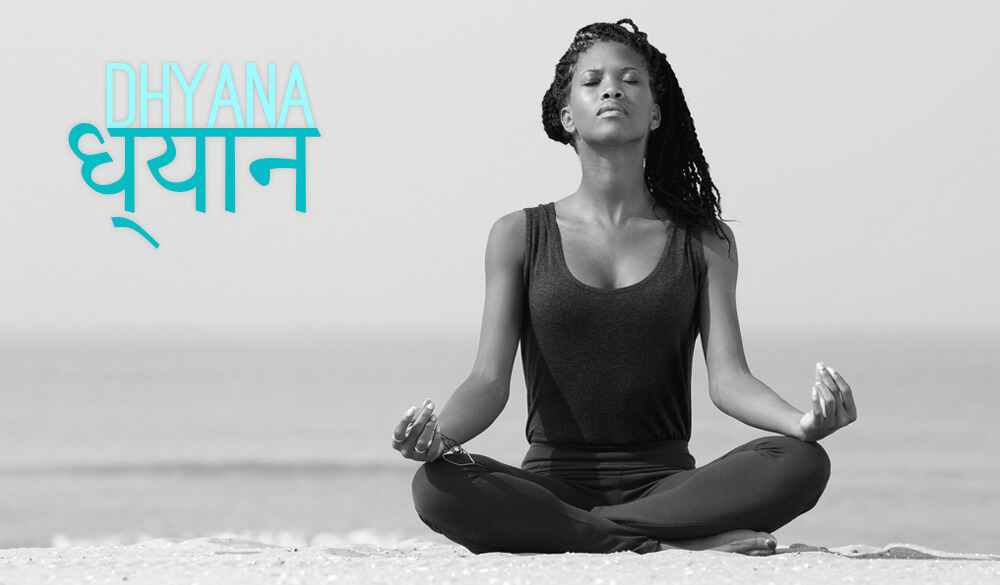 Woman practicing meditation (dhyana)