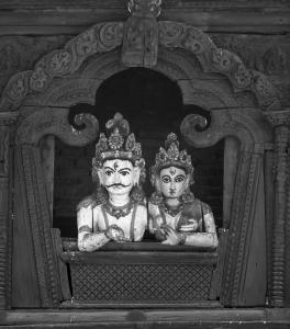 Shiva and Parvati wooden figures in Kathmandu, Nepal