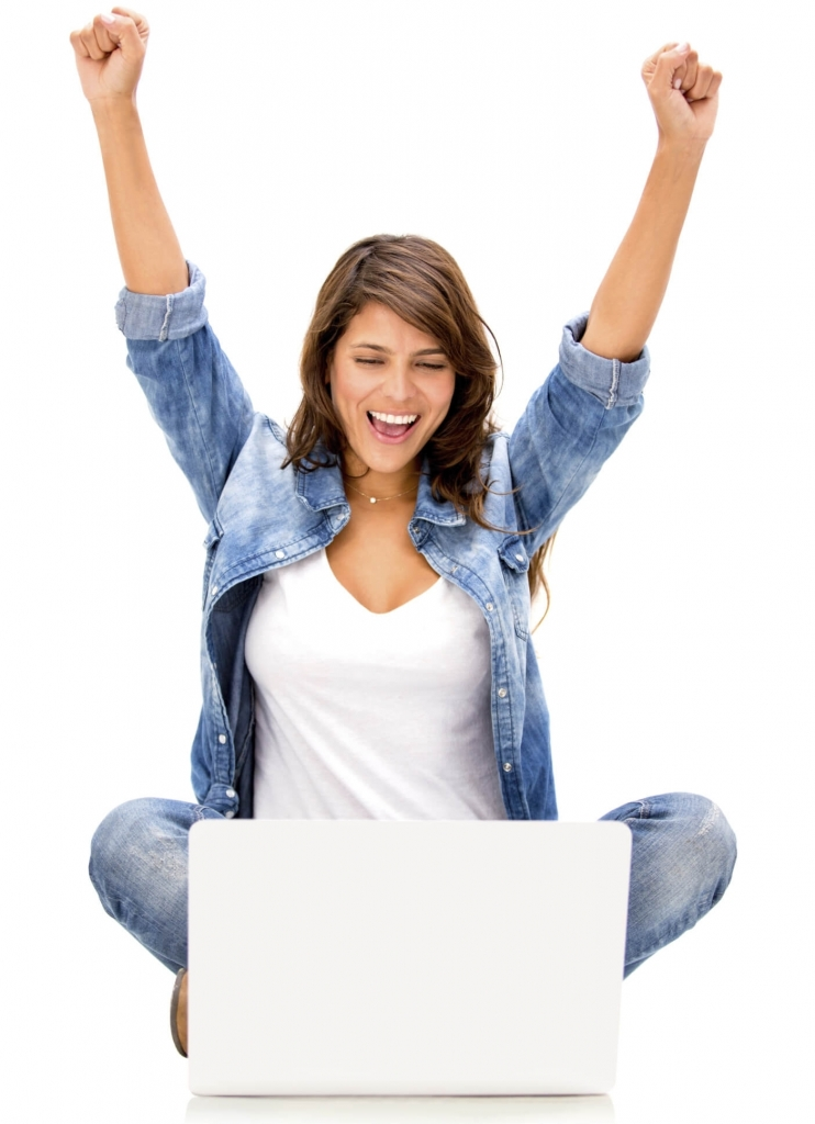 Happy woman taking online massage CEUs