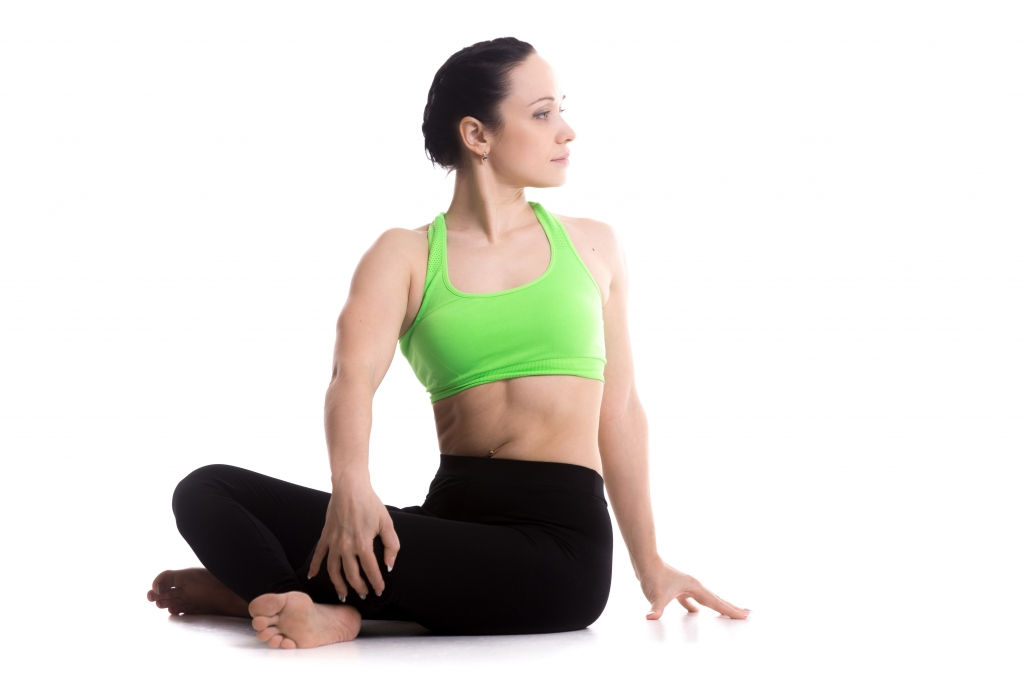 seated twisted easy pose